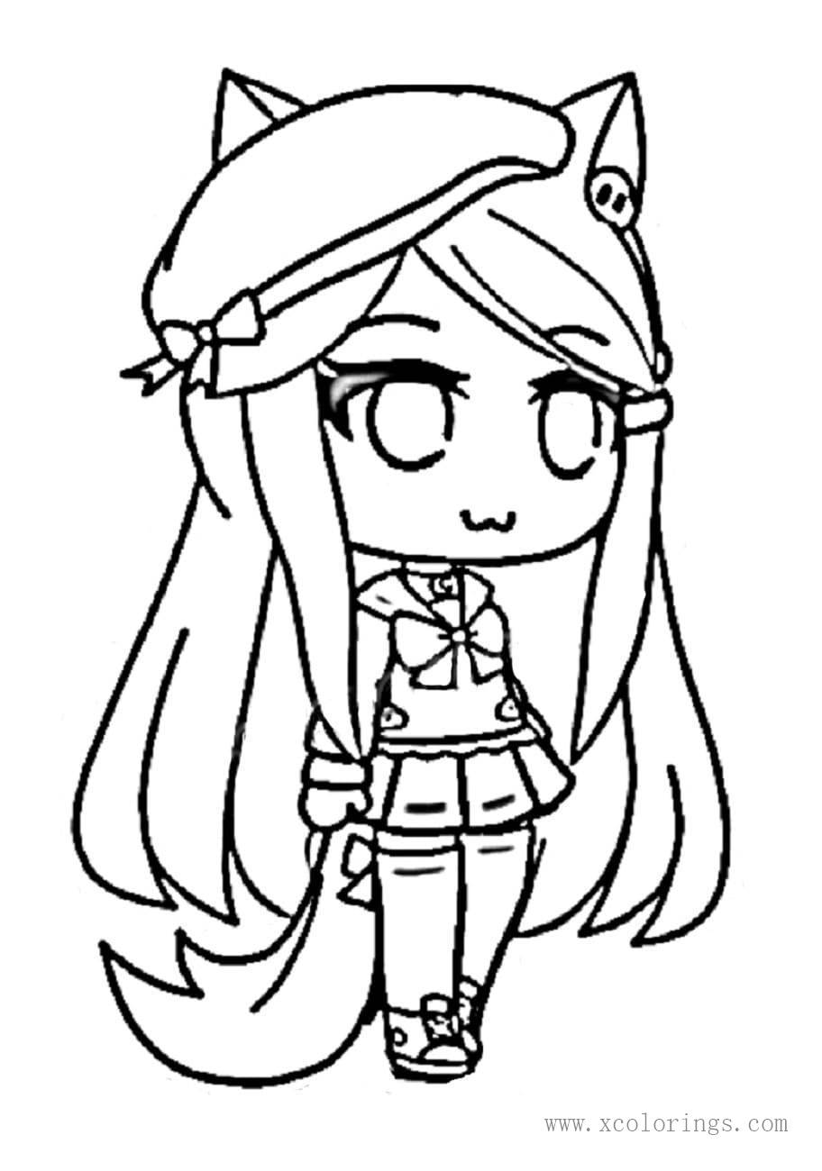 Gacha Life Girl With Hat Coloring Pages Xcolorings Com