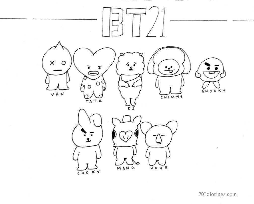 Characters From Bt21 Coloring Pages Xcolorings Com