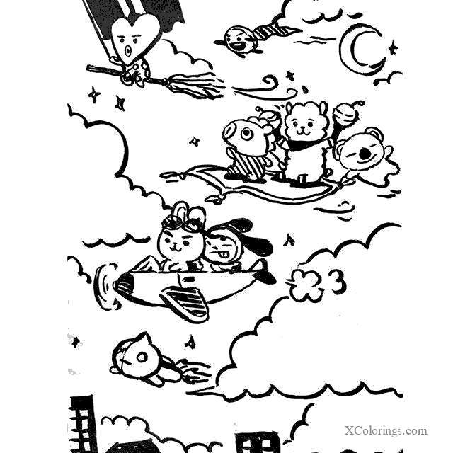Flying Bt21 Characters Coloring Pages Xcolorings Com