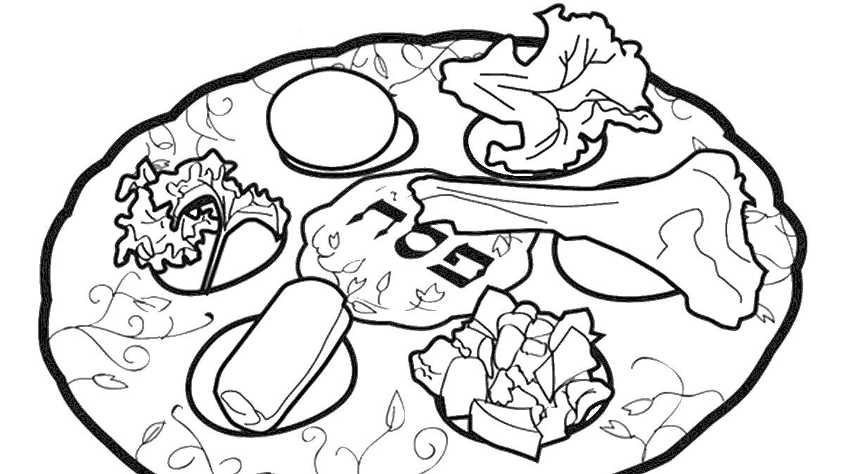 Food On Plate For Pesach Coloring Pages Xcolorings Com