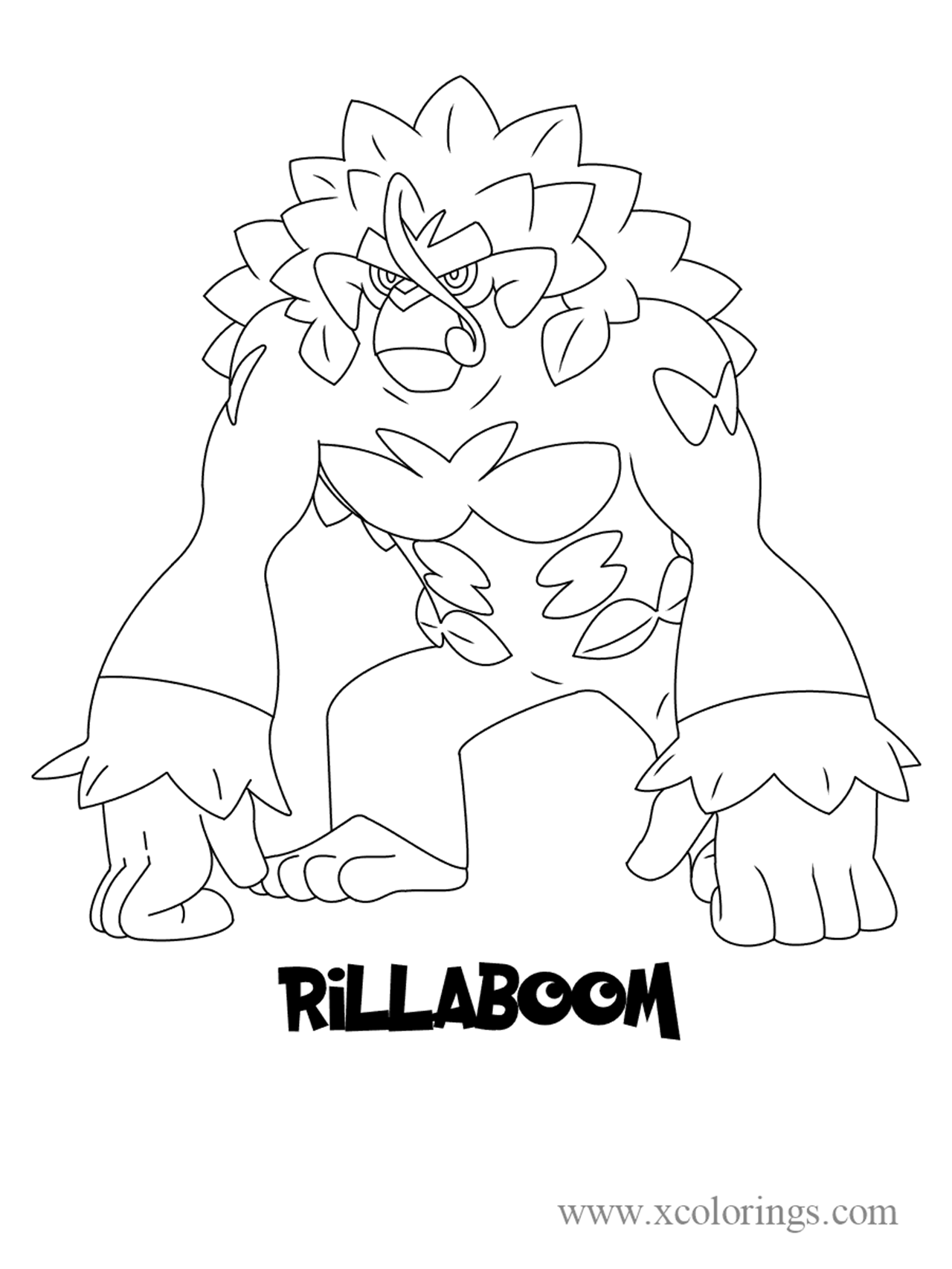 Pokemon sword and shield Rillaboom Coloring Pages - XColorings
