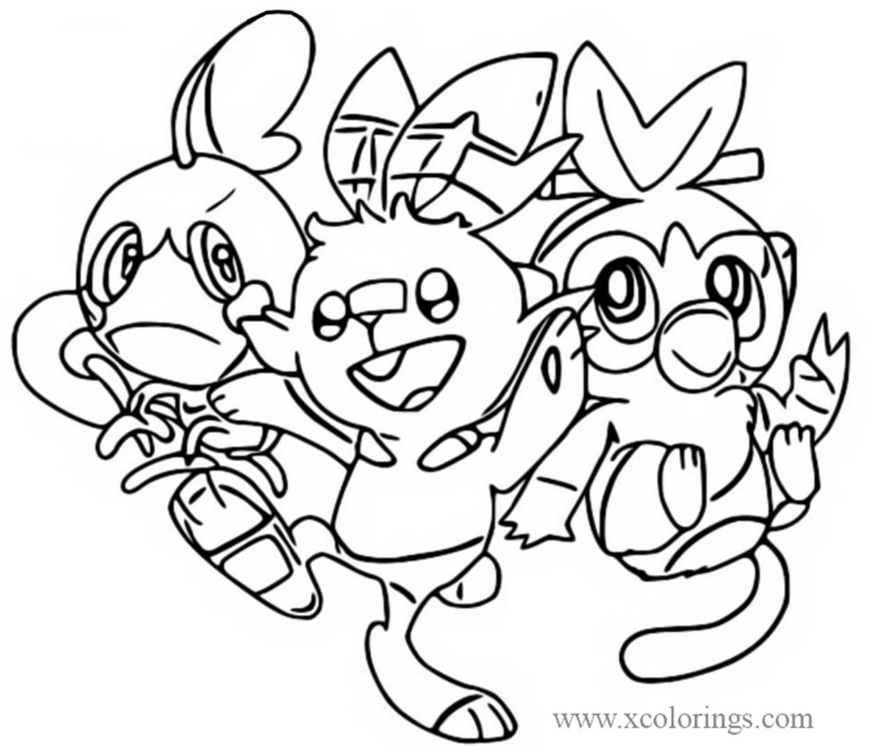 Sobble Scorbunny And Grookey From Pokemon Sword And Shield Coloring Pages Xcolorings Com Check out inspiring examples of grooky artwork on deviantart, and get inspired by our community of talented artists. pokemon sword and shield coloring pages