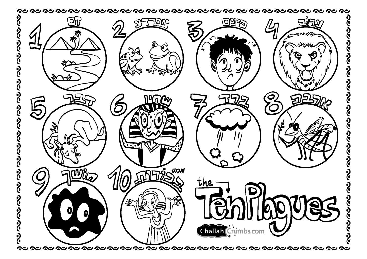 Ten Plagues Of Pesach Coloring Pages Xcolorings Com