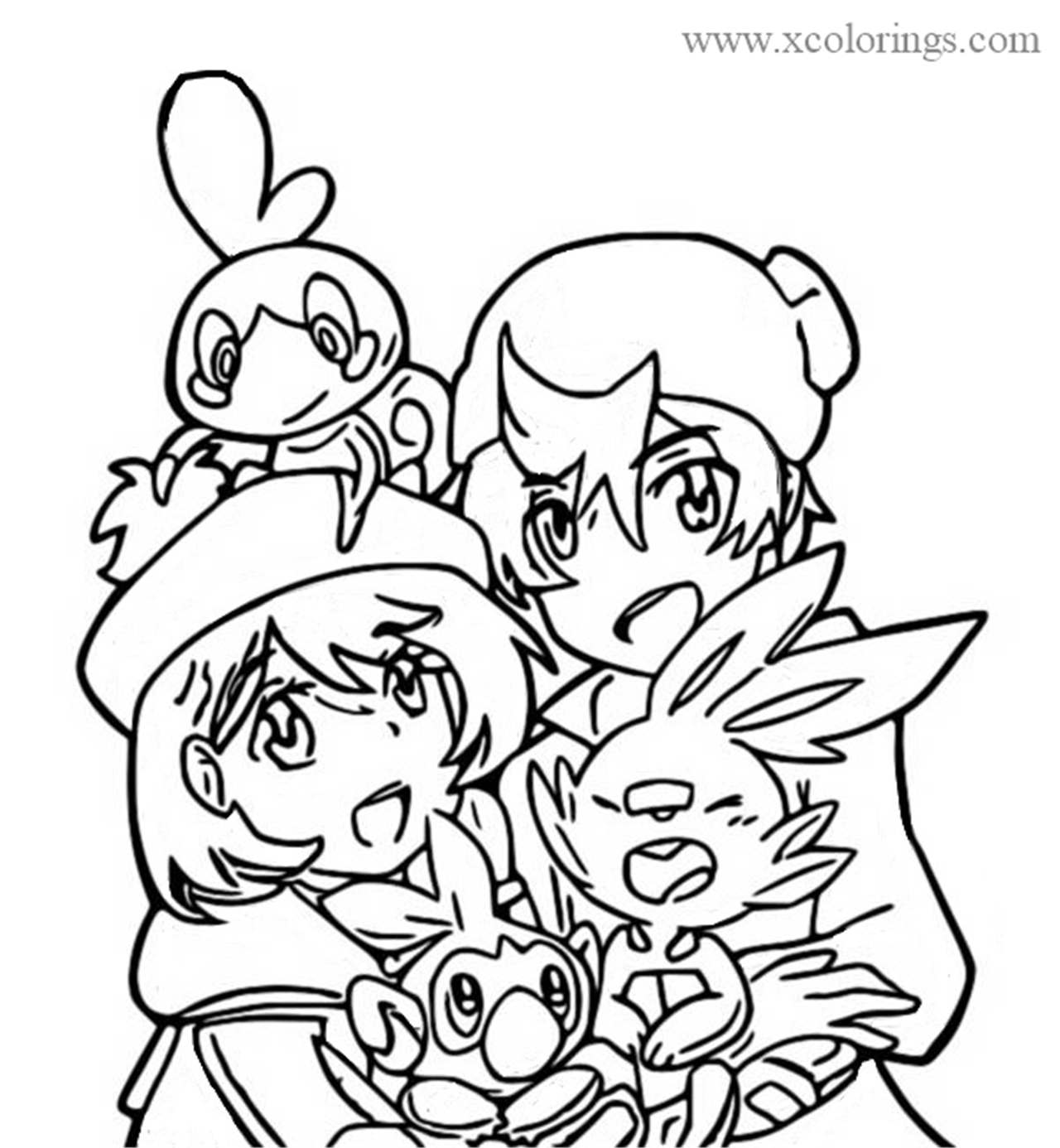 Trainers And Scobble Scorbunny And Grookey From Pokemon Sword And Shield Coloring Pages Xcolorings Com