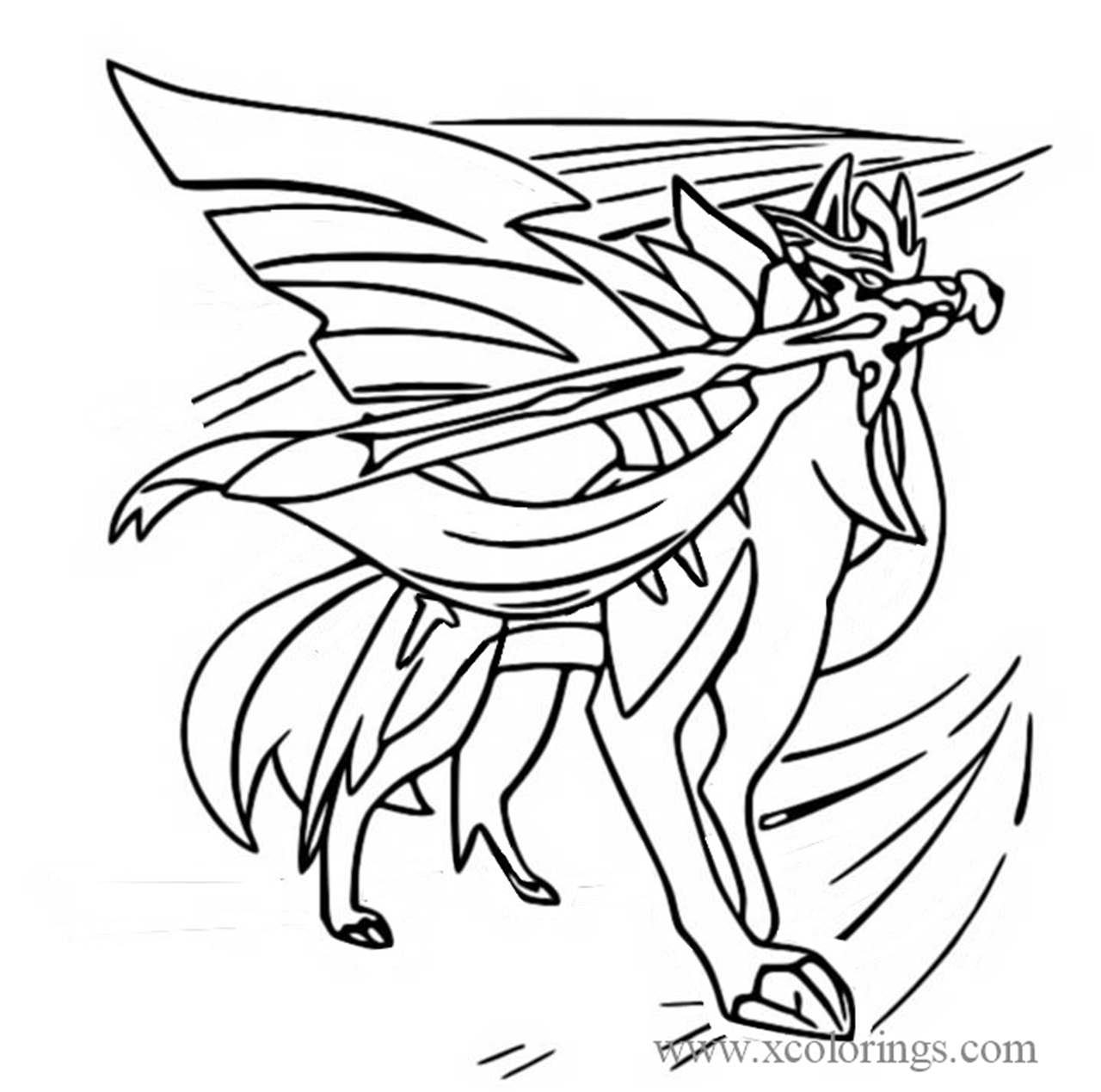 zacian from pokemon sword and shield coloring pages