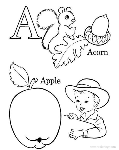 Alphabet A For Acorn Coloring Pages Xcolorings Com