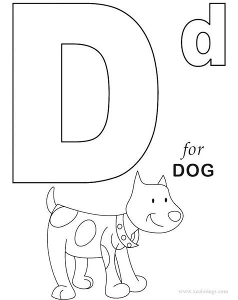 Free D for Dog of Alphabet Coloring Pages printable
