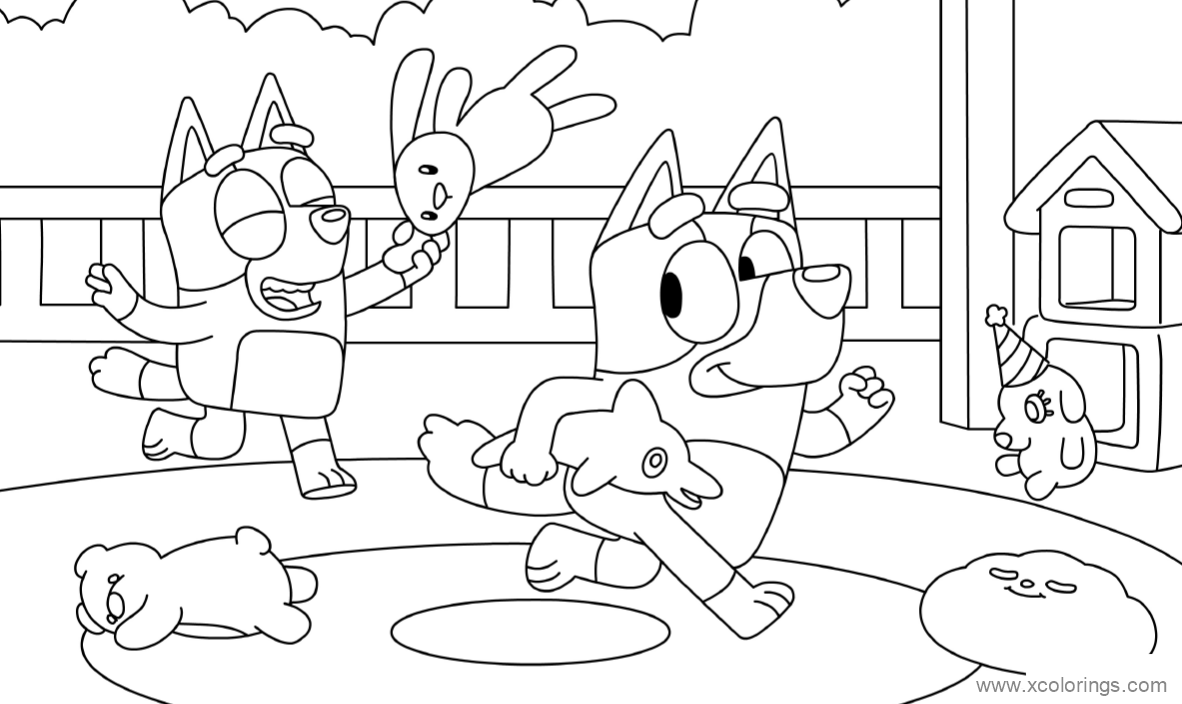 Bluey Play Puppet Coloring Pages Xcolorings Com