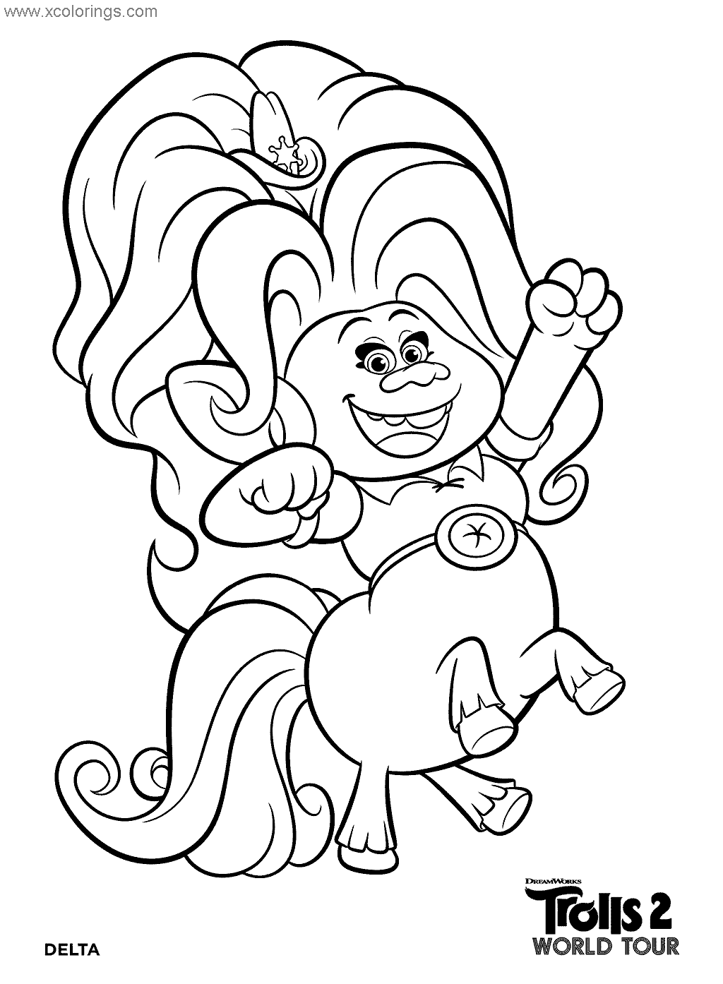 Delta From Trolls World Tour Coloring Pages Xcolorings Com