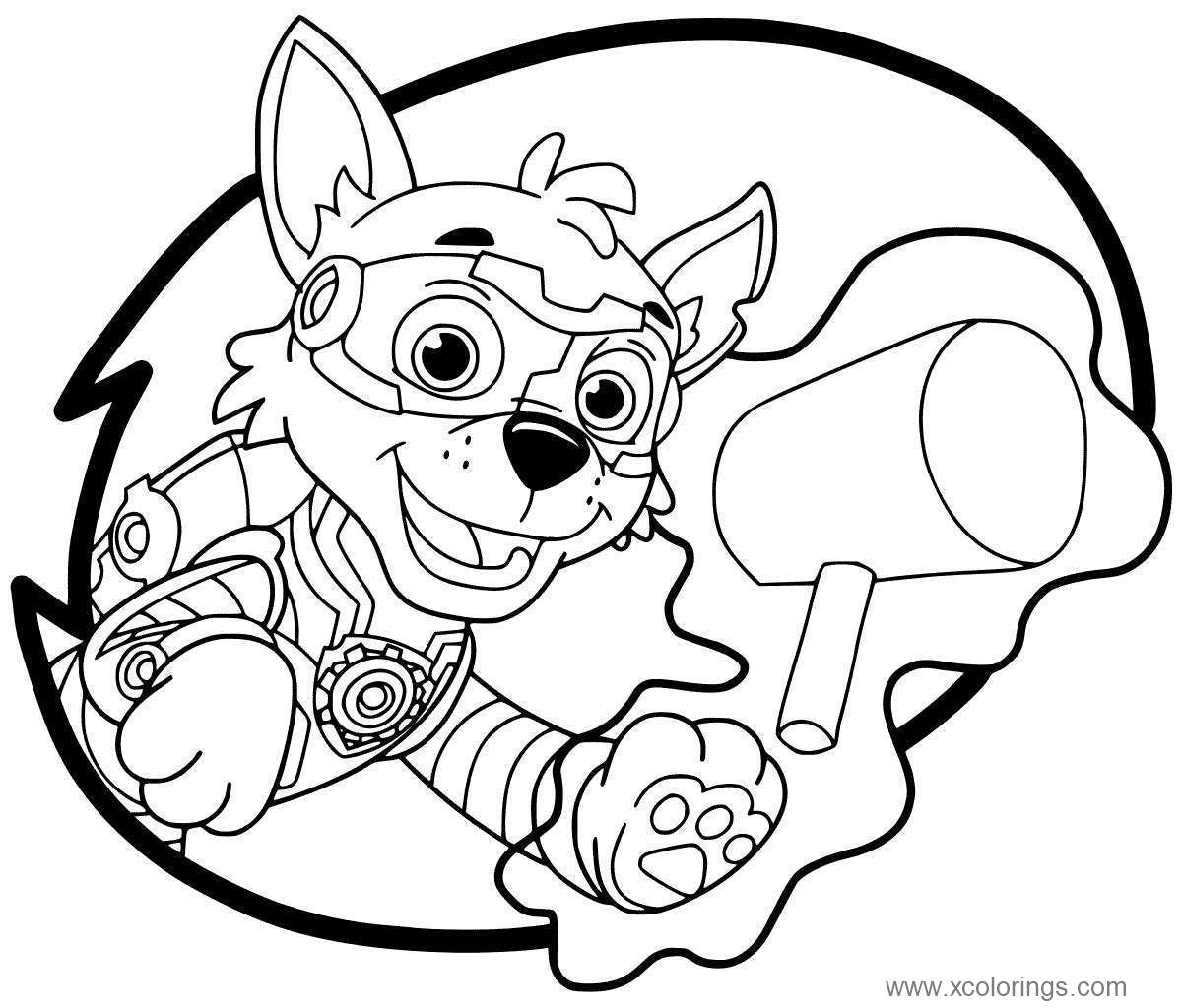 Free Paw Patrol Mighty Pups Rocky Coloring Pages printable