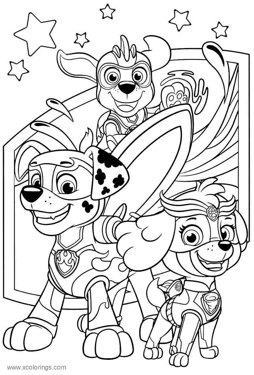 Paw Patrol Mighty Pups Coloring Pages - XColorings