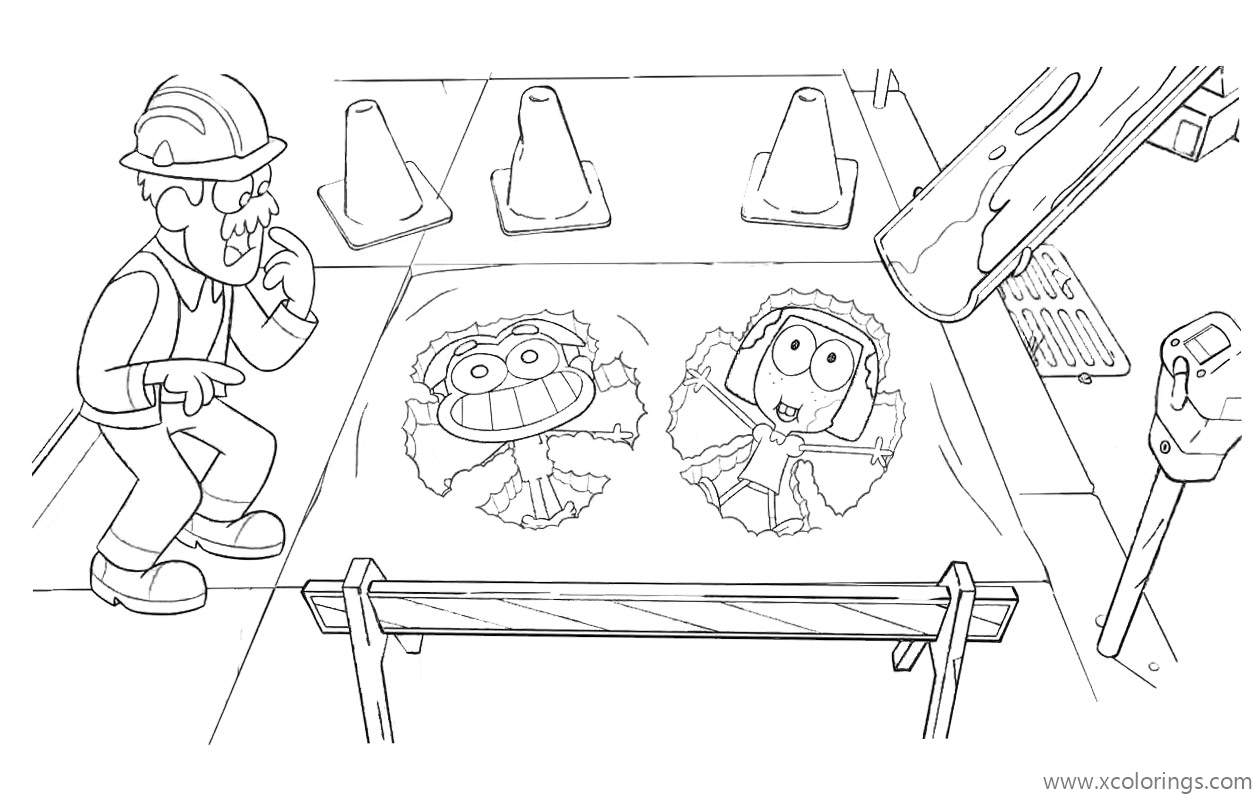 Big City Greens Coloring Pages Tilly And Cricket In Concrete Xcolorings Com