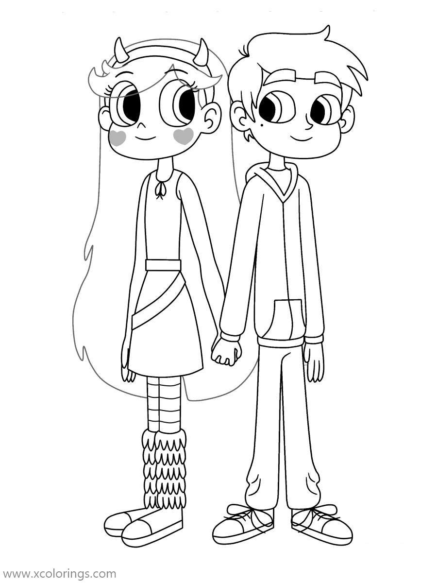 Free Star VS the Forces of Evil Coloring Pages Star Butterfly and Marco Diaz printable
