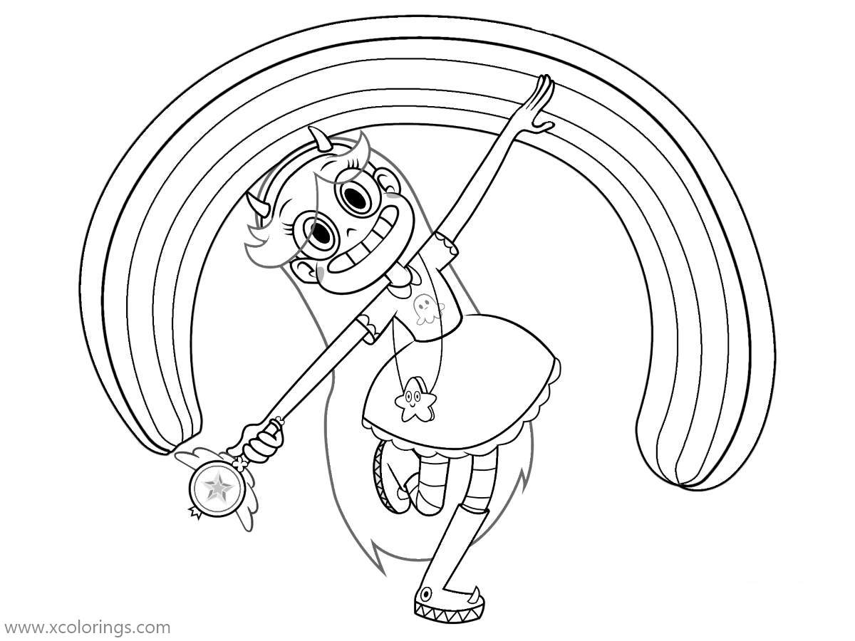 Free Star VS the Forces of Evil Rainbow Coloring Pages printable