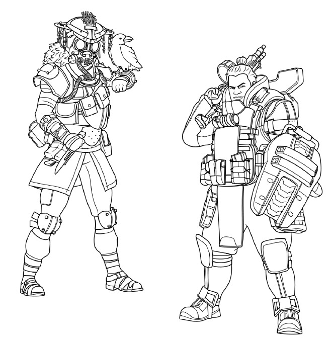 Apex Legends Coloring Pages Bloodhound And Gibraltar Xcolorings Com