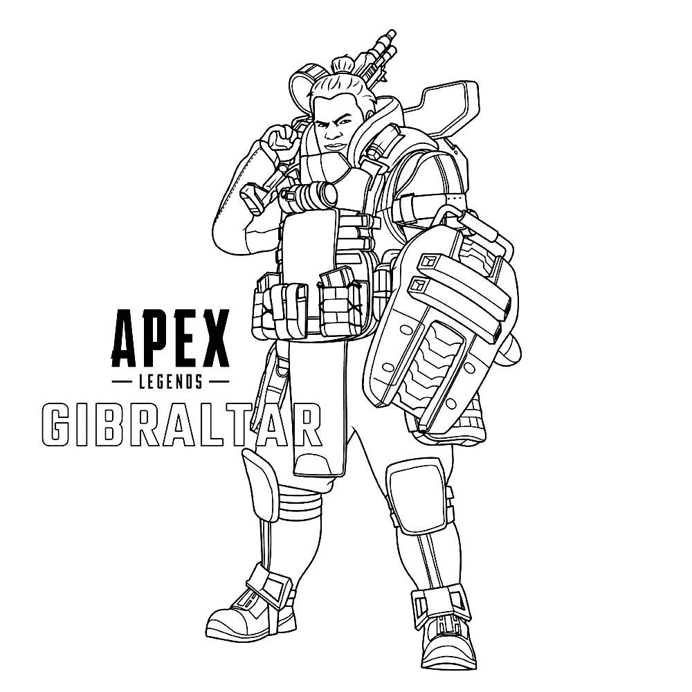 Free Apex Legends Coloring Pages Gibraltar printable