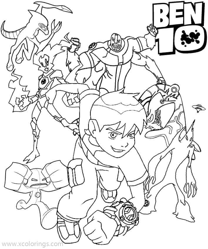 Ben 10 Coloring Pages Ben And Aliens - XColorings.com