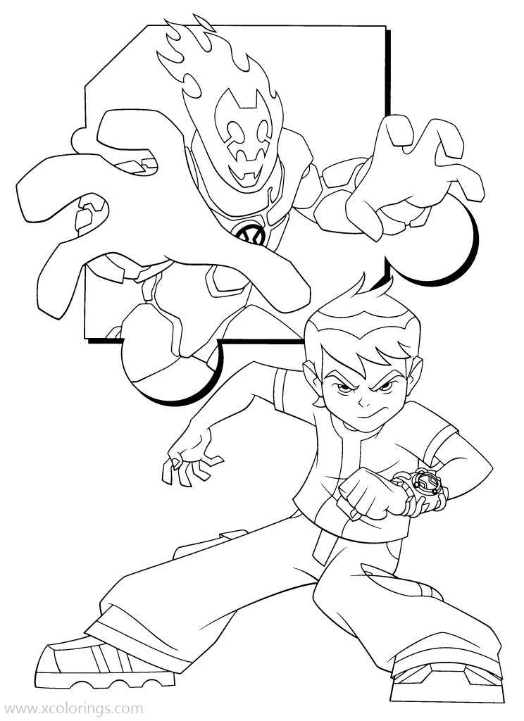 Ben 10 Coloring Pages Ben And Heatblast - XColorings.com