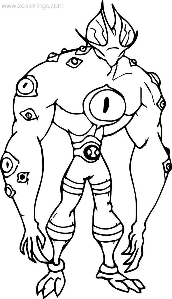 Ben 10 Coloring Pages Eye Guy - XColorings.com