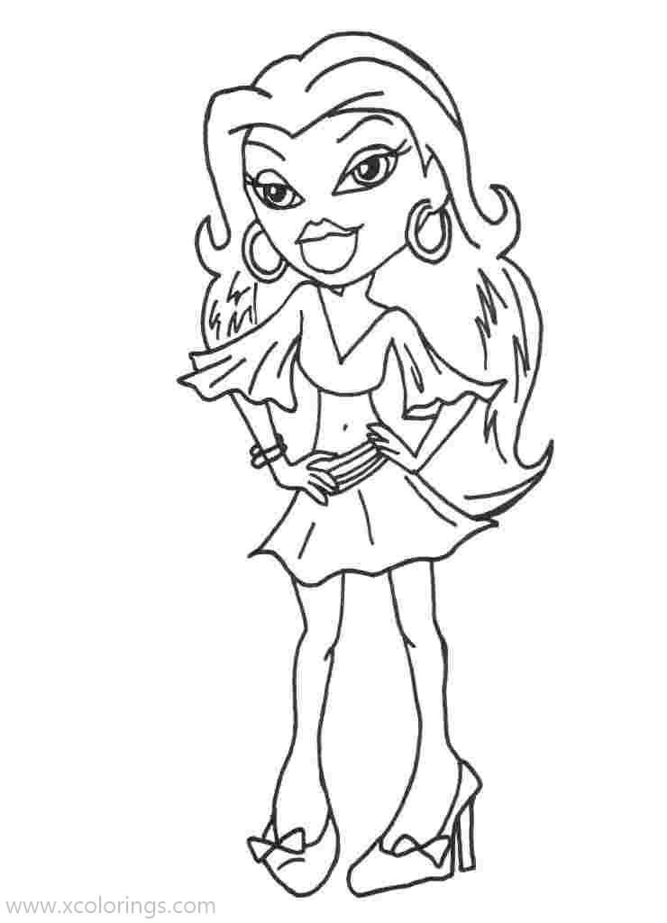 Free Bratz Girl with Earrings Coloring Pages printable