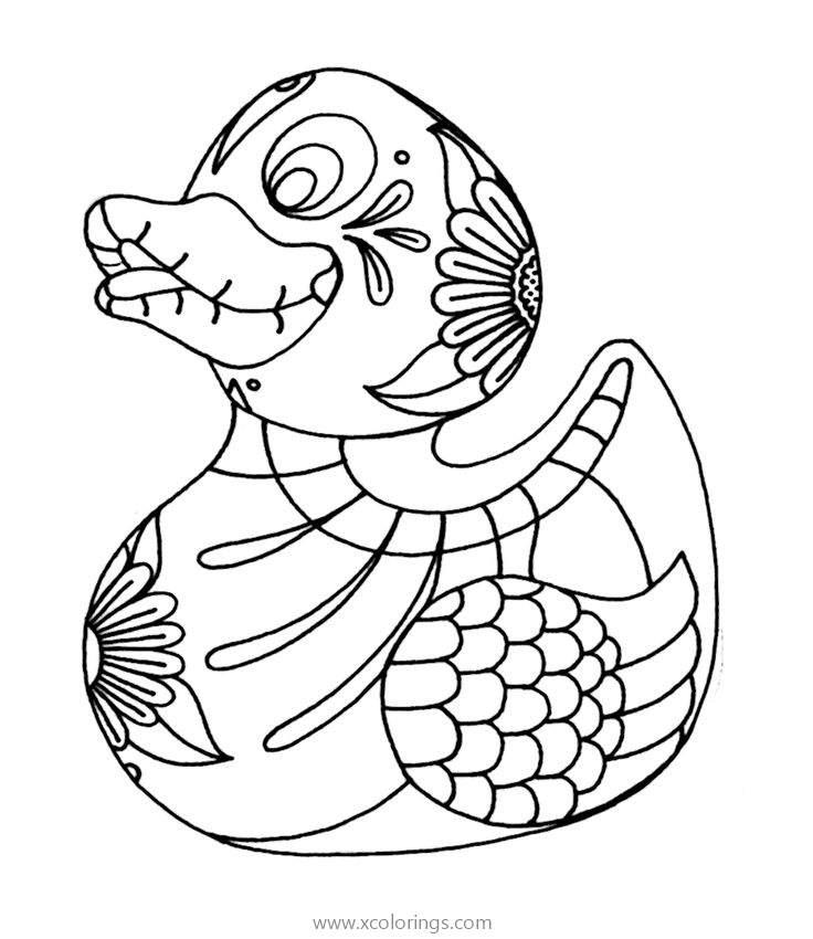 Dia De Los Muertos Duck Skull Coloring Page - XColorings.com
