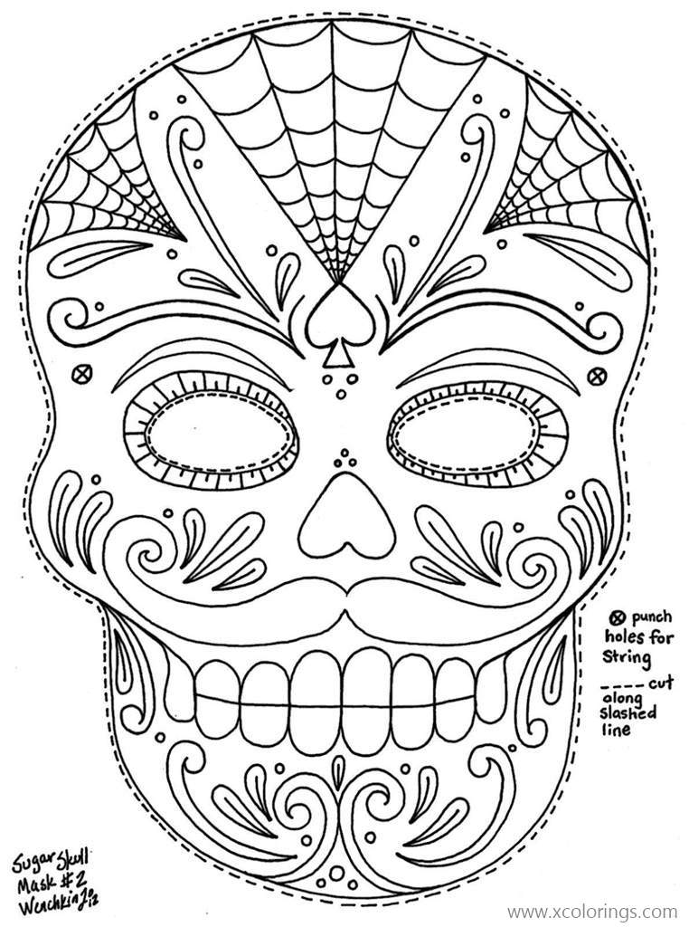 Dia De Los Muertos Masks Coloring Pages - XColorings.com