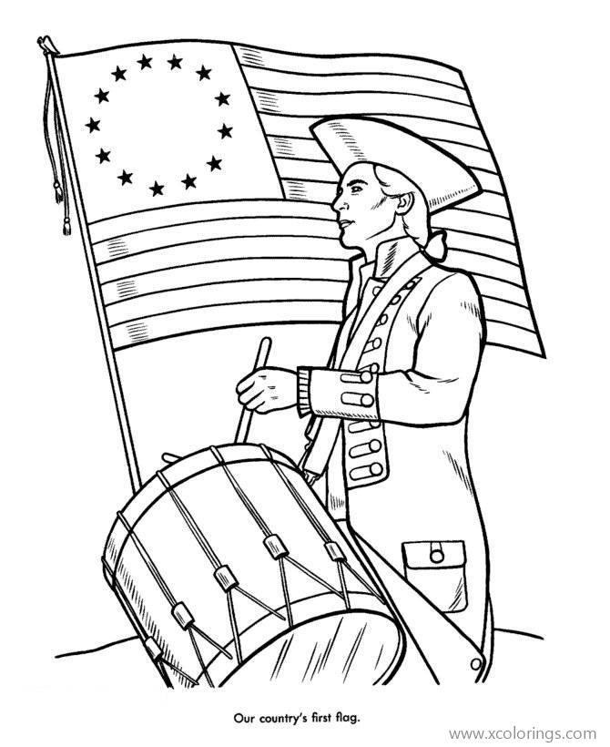 Fourth Of July Coloring Pages First Flag - XColorings.com