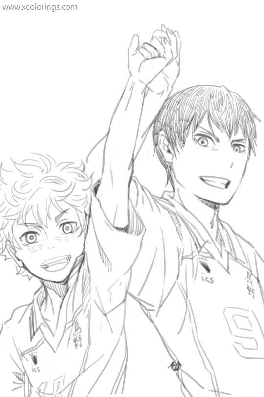 Free Haikyuu Coloring Pages Characters Kageyama and Hinata printable