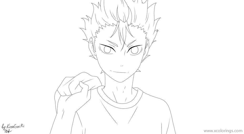 Free Haikyuu Coloring Pages Yu Nishinoya Lineart by KiraGaiRi printable
