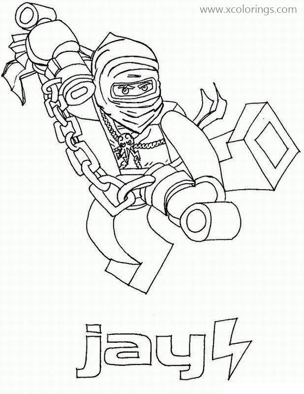 Jay From Lego Ninjago Coloring Pages Xcolorings Com