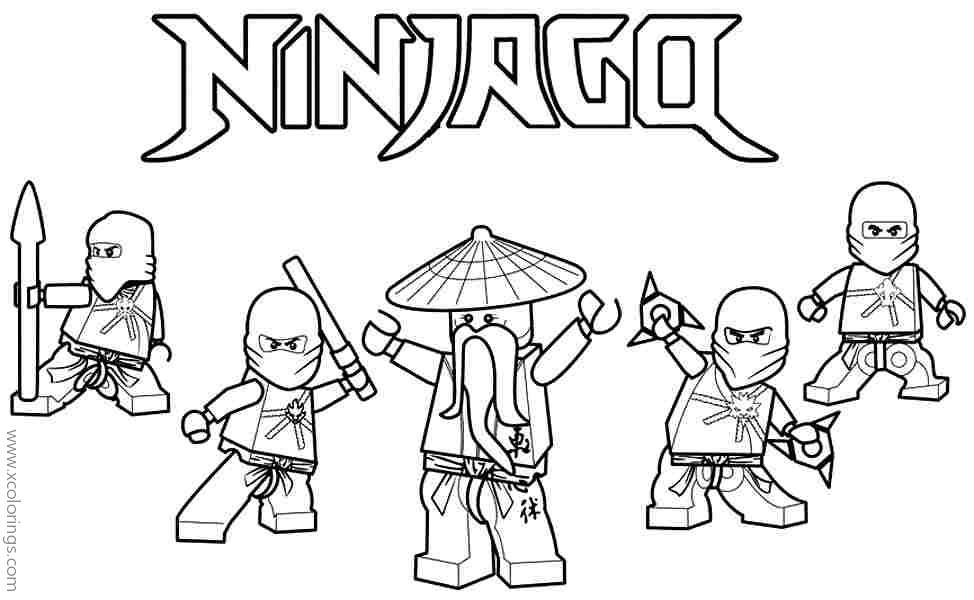 Lego Ninjago Coloring Pages Sensei Wu And Ninjas Xcolorings Com