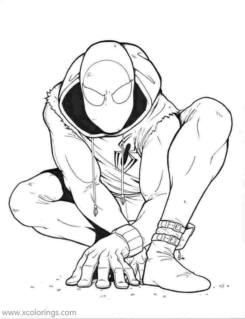 Miles Morales Coloring Pages Ready to Move - XColorings.com