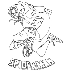 Miles Morales Coloring Pages Spiderman is Jumping ...