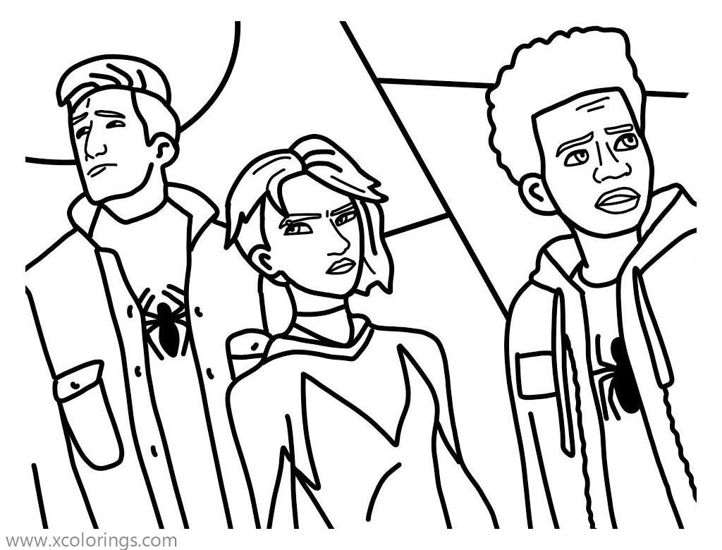 Miles Morales and Friends Coloring Pages - XColorings.com