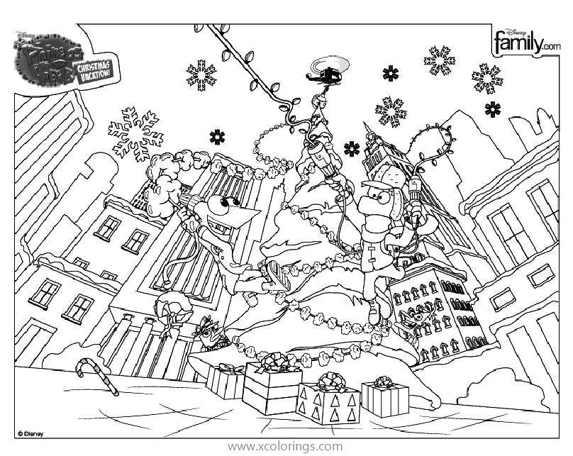 Phineas And Ferb Christmas Vacation Coloring Pages Xcolorings Com