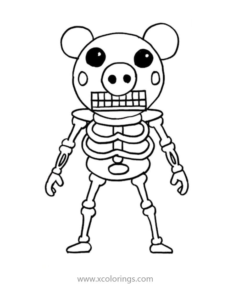 Piggy Roblox Coloring Pages Skeleton - XColorings.com