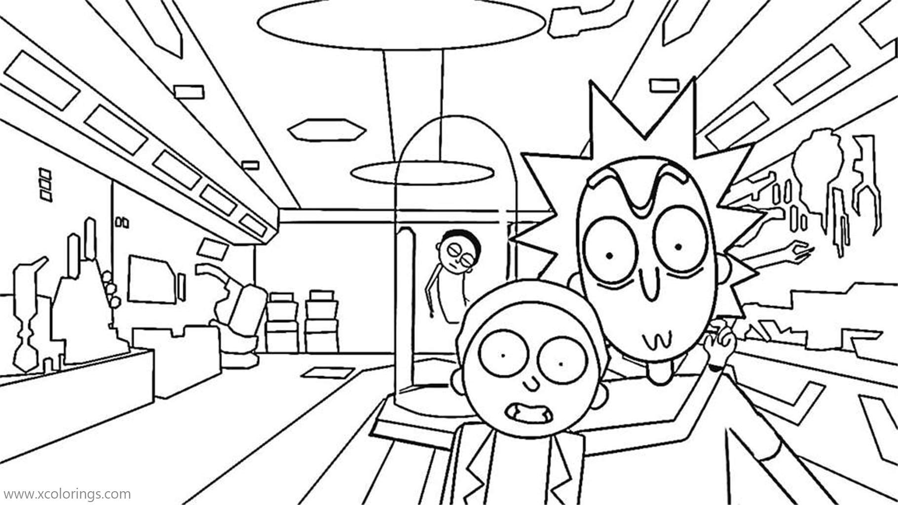 Rick And Morty In The Lab Coloring Pages Xcolorings Com
