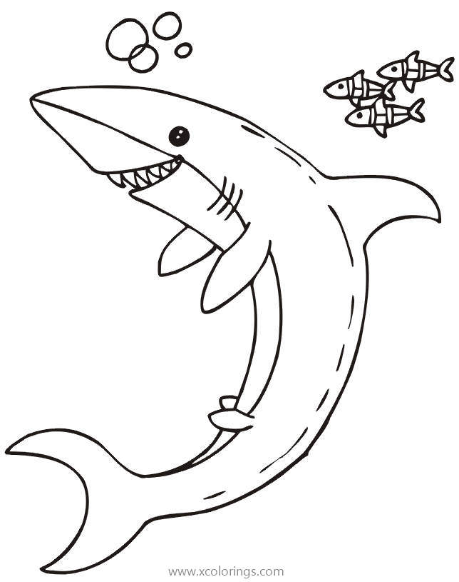 Shark Coloring Pages With Three Little Fish Xcolorings Com