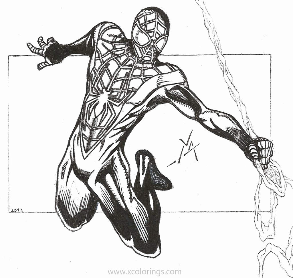 Spider Man Miles Morales Coloring Pages - XColorings.com
