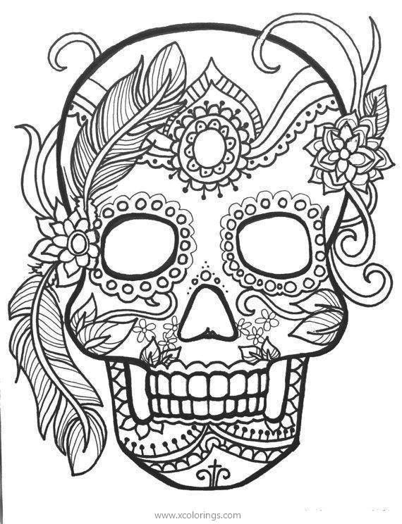 Sugar Skulls Of Dia De Los Muertos Coloring Page - XColorings.com