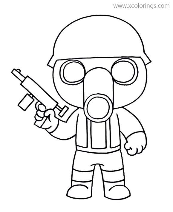 Octopus Piggy Roblox Torcher From Piggy Roblox Coloring Pages Gas Mask Soldier Xcolorings Com
