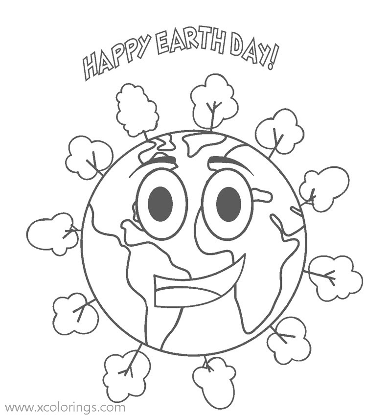 Free Animated Happy Earth Day Coloring Pages printable
