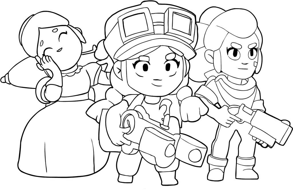 Brawl Stars Coloring Pages Jessie Pam And Piper Xcolorings Com