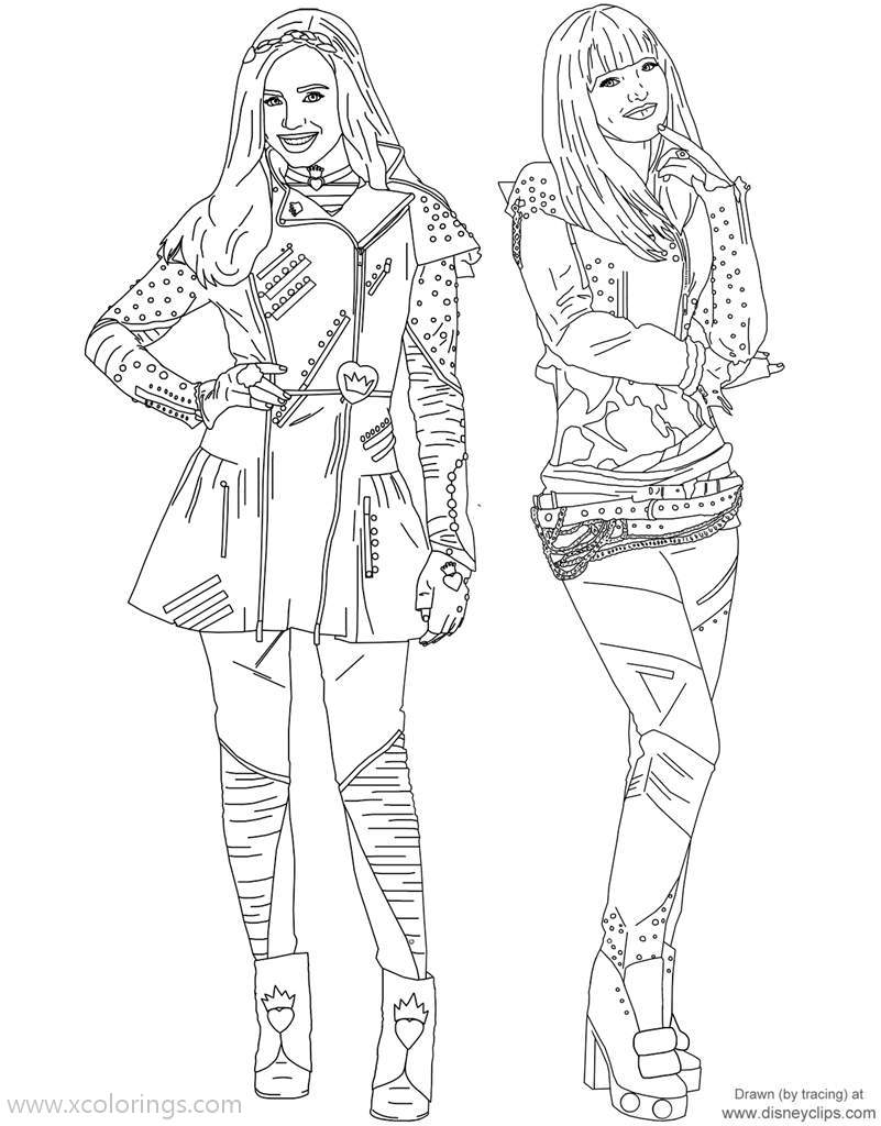 Descendants Coloring Pages Mal And Evie Xcolorings Com