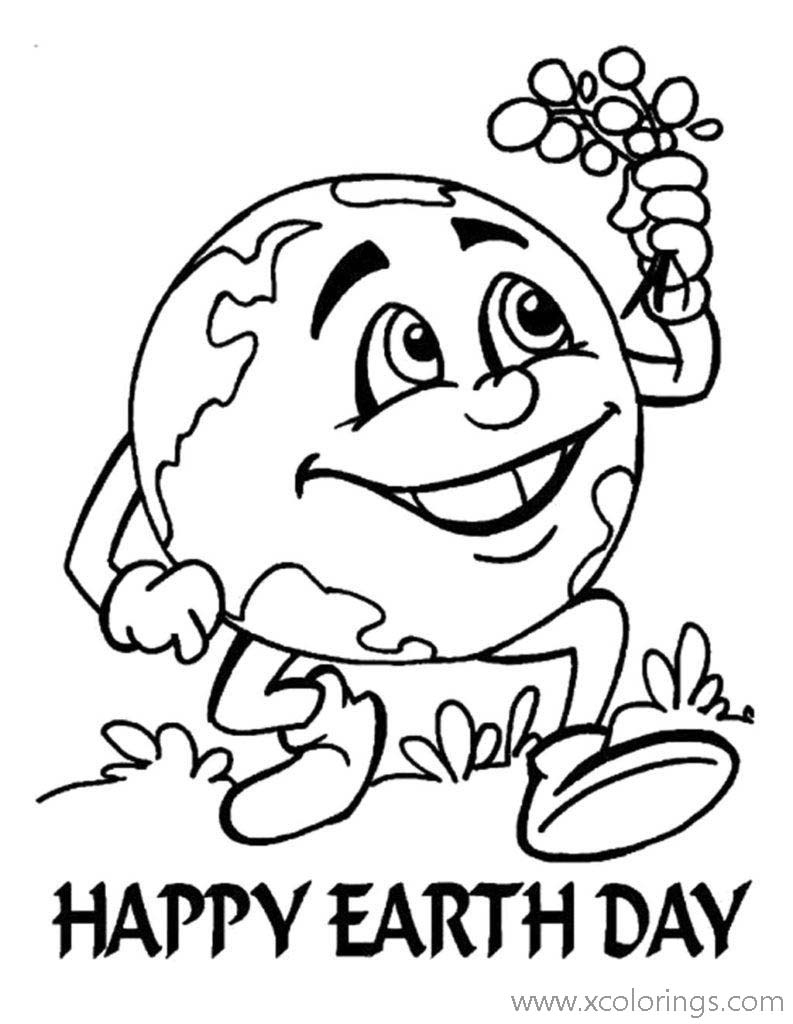 Free Earth Day Coloring Pages Cartoon Earth printable