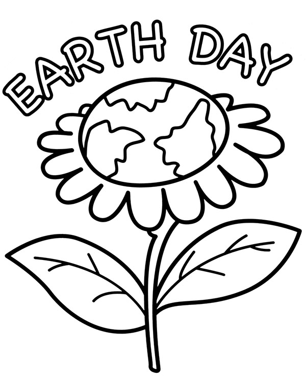Free Earth Day Coloring Pages Earth As A Flower printable