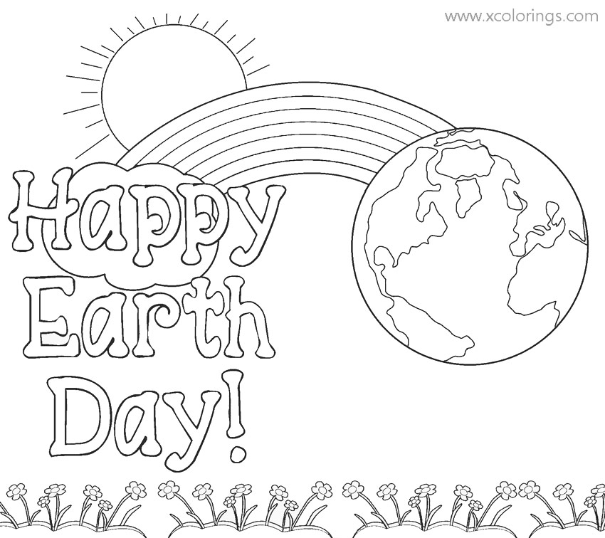 Free Earth Day Coloring Pages with Rainbow and Sun printable