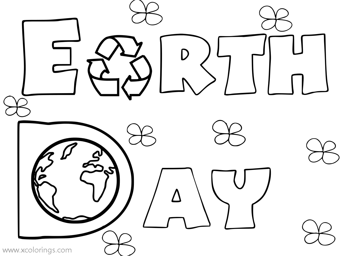 Free Earth Day Recycle Coloring Pages printable