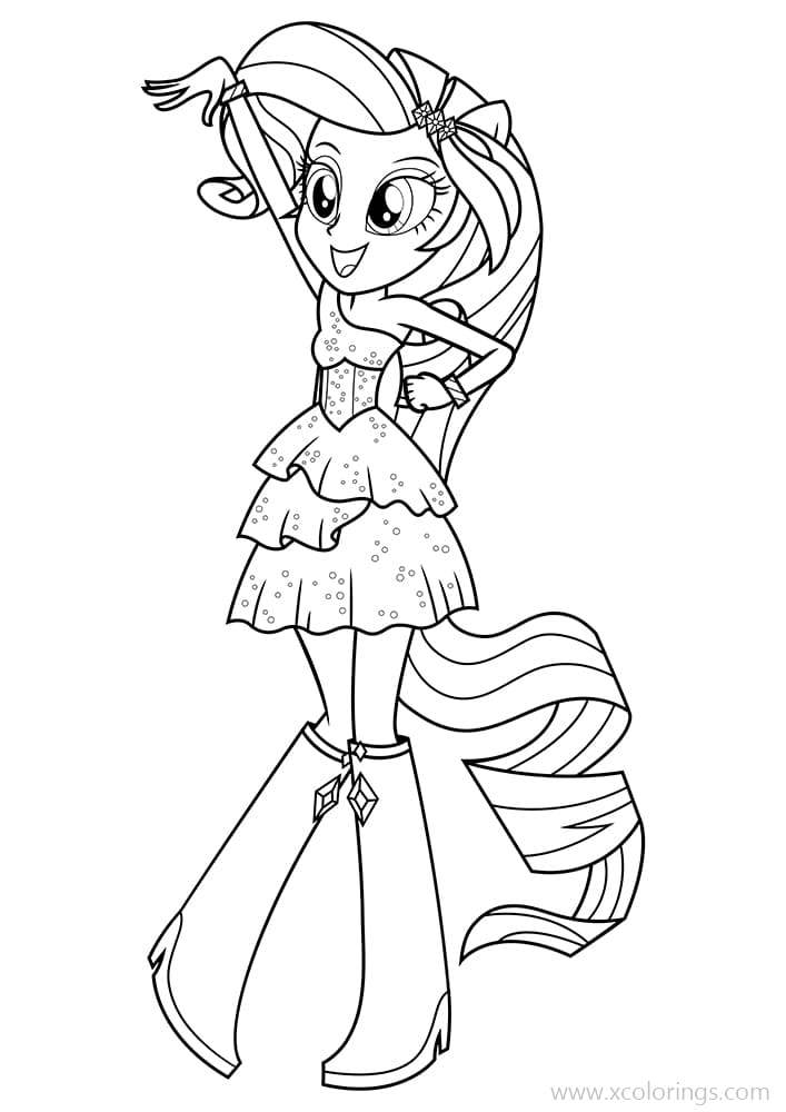 Equestria Girls Coloring Pages Rarity Loves Dancing Xcolorings Com