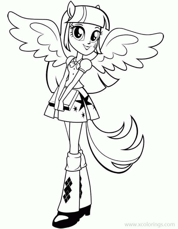 Equestria Girls Coloring Pages Twilight Sparkle With A Book - XColorings.com